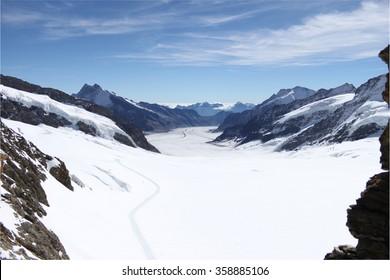 Jungfraujoch, Switzerland, view of Aletsch Glazier in the Swiss Alps