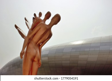 Jung-gu, Seoul, South Korea - May 18, 2020: A female shaped sculpture made by Youngwon Kim at Dongdaemun Design Plaza