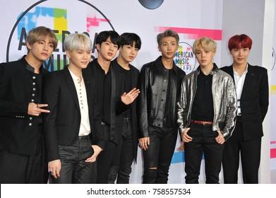 Jungkook, Jimin, V, Suga,Jin, J-Hope and Rap Monster of BTS at the 2017 American Music Awards held at the Microsoft Theater in Los Angeles, USA on November 19, 2017.