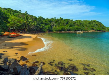 Jungle Beach on tropical coast indian ocean, Unawatuna, island Sri Lanka