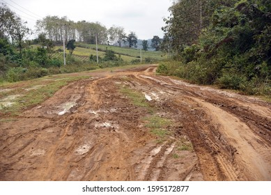 Jungle dirty muddy road, Laos
