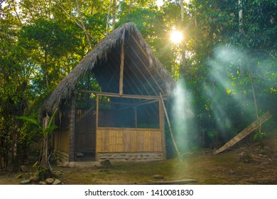 Jungle hut in the afternoon sun