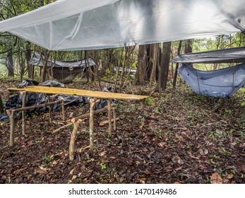 Jungle, Peru. Camp with hammocks and wodoen table in the amazon jungle. Selva. Latin America.