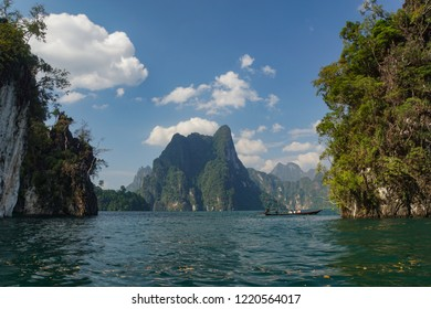 Jungle view landscape of the Khao Sok National Park with jungle and Clouds and lake and sunrise rain forest