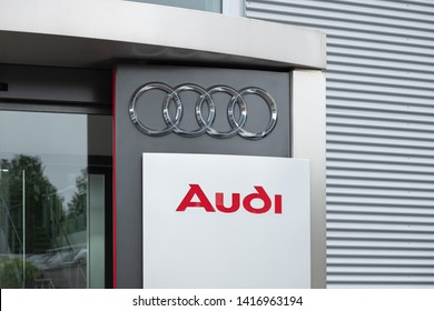 Junglinster / Luxembourg - 05 30 2019: Audi sign and logo. Audi AG is a German automobile manufacturer. Audi is a member of the Volkswagen Group and has its roots at Ingolstadt, Bavaria.