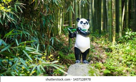 Jungnogwon-ro, Damyang-eup, Damyang-gun, Jeollanam-do/South Korea- 05 06 2019: Damyang Bamboo Forest Festival (Juknokwon)- Panda statue near waterfall