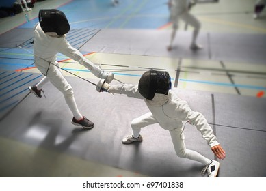 Junior Boys at fencing tournament, wide angle view