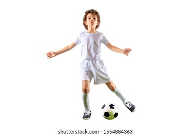 Junior football player with admiring fake and open arms looking at the camera isolated on a white background. Copy space