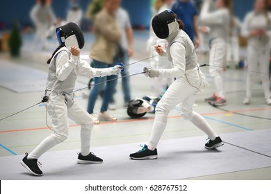 Junior Girls at a foil fencing tournament
