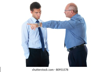 junior office worker gets fired by senior manager, point out with his hand and finger, isolated on white