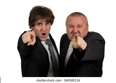 junior office worker and senior manager, point out with  hands and finger, isolated on white.