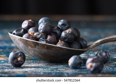 Juniper Berries on a Vintage Spoon