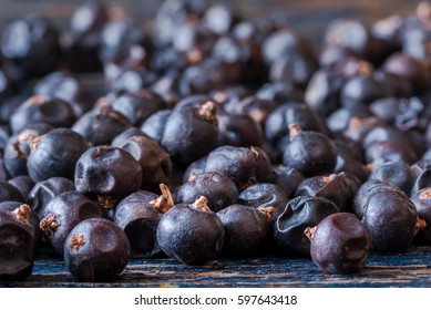 Juniper berries scattered