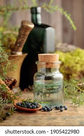 Juniper tincture and juniper berries on an old wooden table. In the background branches of juniper, antique bottle and brass mortar with pestle. Focus on a wooden spoon with berries.