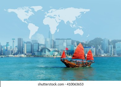 junk boat at Hong Kong harbour with map