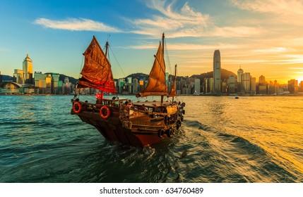 junk boat Hong Kong harbour