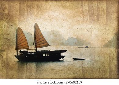 Junk boats in Halong Bay, Vietnam, vintage dark sepia process