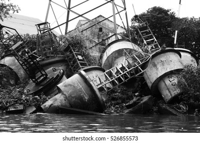 junk by river