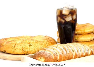 Junk food or fastfood and cola coke glass in restaurant