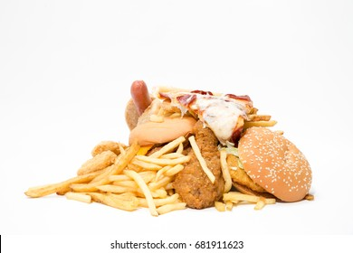 Junk food isolated on white