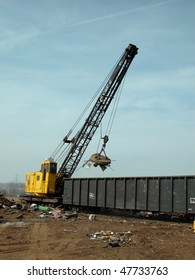 junk yard magnet and crane