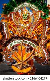 Junkanoo costume of bright orange leaves of autumn.