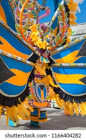 Junkanoo dancer potrays a colorful butterfly