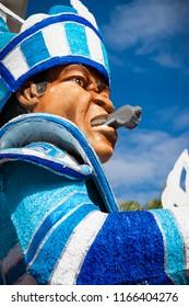 Junkanoo festival float character made of paper mache representi