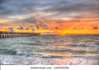 Juno Beach Pier Florida Sunrise, Choppy Waves.