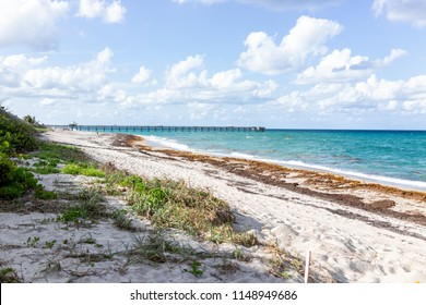 Juno Beach Pier jetty in Jupiter, Florida, sunny day, turquoise water