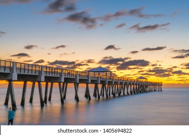 Juno, Florida, USA at the Juno Beach Pier just before sunrise.