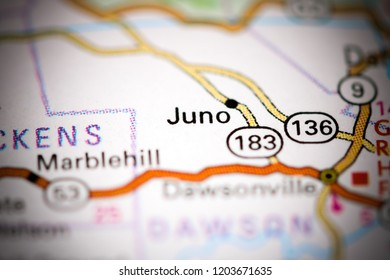 Juno. Georgia. USA on a map