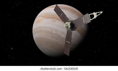 Juno space probe near the Jupiter 3D illustration (Elements of this image furnished by NASA)