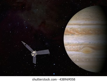 "Juno spacecraft and jupiter ""Elements of this image furnished by NASA """