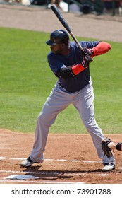 "JUPITER, FL USA - MAR. 24: Red Sox designated hitter David ""Big Papi"" Ortiz bats during the Boston Red Sox vs. Florida Marlins spring training game on March 24, 2010 in Jupiter, FL."