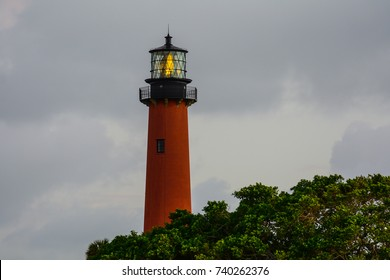 The Jupiter, Florida lighthouse in the early twilight