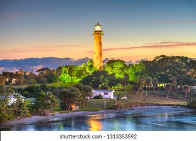 Jupiter, Florida, USA with Jupiter Inlet Light at dawn.