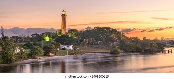 Jupiter, Florida, USA at Jupiter Inlet Light at dawn.