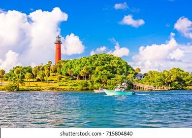 Jupiter, Florida, USA inlet and light house.