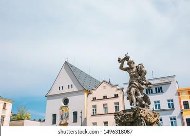 Jupiter fountain and Dolni Namesti old town square in Olomouc, Czech Republic