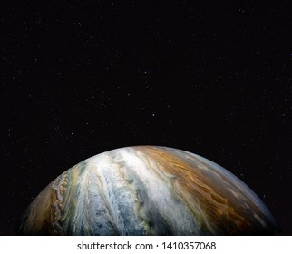 Jupiter (Juno probe) against the starry sky. Elements of this image furnished by NASA.