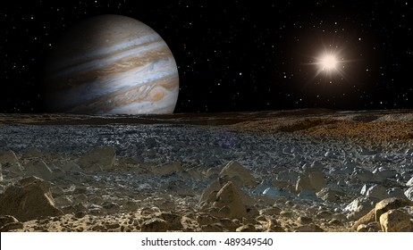 "jupiter and moon europa "" Elements of this image furnished by NASA"""