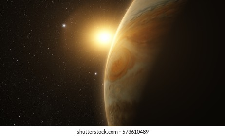 jupiter and moon io with beautiful sunset. Check my gallery for other sunsets and  sunrises in space. Elements of this image furnished by NASA