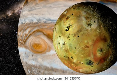jupiter and moon io Elements of this image furnished by NASA