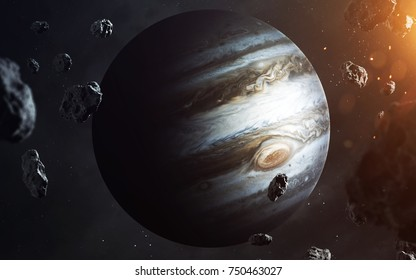 Jupiter. Planets of solar system visualization. Elements of this image furnished by NASA