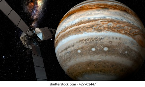 jupiter and satellite juno, 3D rendering Juno requires a five-year cruise to Jupiter, arriving around July 4, 2016. Elements of this image furnished by NASA