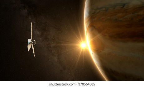jupiter and satellite juno with beautiful sunset. Elements of this image furnished by NASA