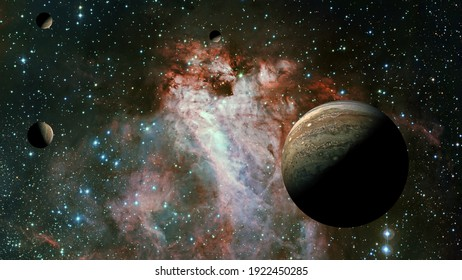 The Jupiter from space. Elements furnished by NASA.