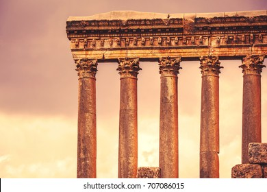 Jupiter's temple of Baalbek, antique roman architecture, ruins of a temple, touristic place, famous landmark of Lebanon