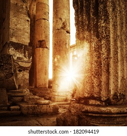 Jupiter's temple  Baalbek, Lebanon, ancient Roman architecture, ruins of aged castle, religious building in bright sun light, grunge vintage photo